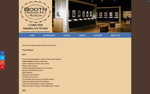 Screenshot of Press Page boothmuseum.org - Press Room - Booth Western Art Museum - captured Nov. 23, 2016