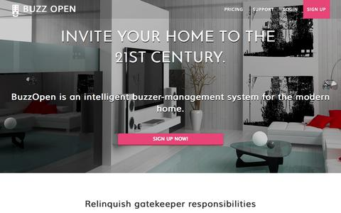 Screenshot of Home Page buzzopen.com - Buzz Open - An intelligent buzzer system for your home. - captured Sept. 30, 2014
