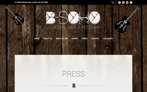 Screenshot of Press Page b-soho.co.uk - Press | B-SOHO Cocktail Bar & Pizzeria - captured Oct. 2, 2014