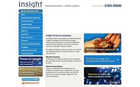 Screenshot of Home Page insightifa.com - Investing Advice Financial Advisers Norwich, Colchester, Harlow, Kent, Sevenoaks, Wimbledon - captured Oct. 6, 2014