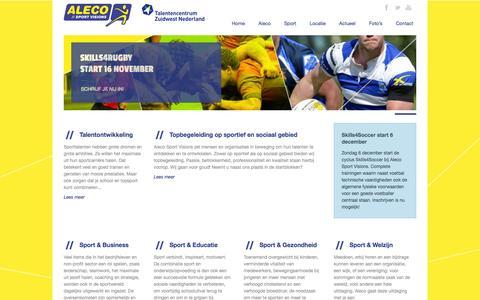Screenshot of Home Page aleco.nl - Aleco Sportvisions  Aleco Sport Visions / Talentencentrum Zuidwest Nederland - captured Feb. 5, 2016