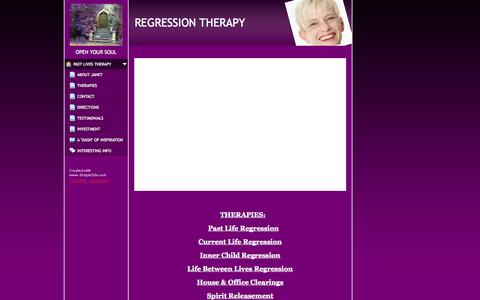 Screenshot of Home Page janetenergyhealing.com - PAST LIVES THERAPY - www.janetenergyhealing.com - captured Jan. 28, 2015