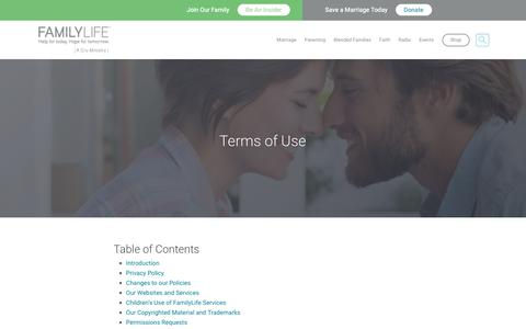 Screenshot of Terms Page familylife.com - Terms of Use | FamilyLife® - captured Oct. 24, 2018