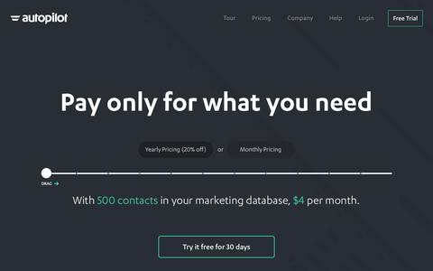 Screenshot of Pricing Page autopilothq.com - Autopilot Pricing   Email Marketing & Marketing Automation Software - captured Nov. 20, 2015