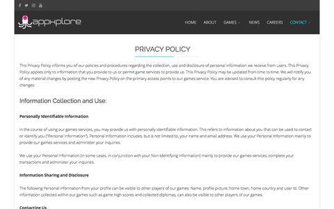 Screenshot of Privacy Page appxplore.com - Appxplore | Games Development Studio | Privacy Policy - captured July 27, 2016