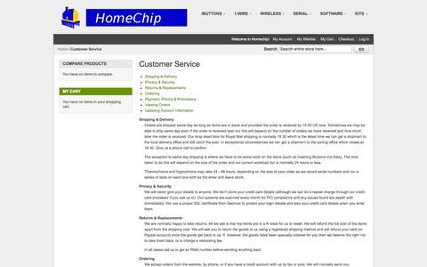 Screenshot of Support Page homechip.com - Customer Service - captured Oct. 2, 2014