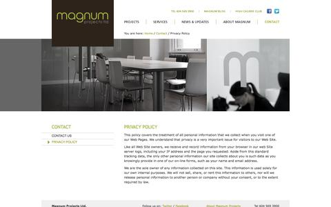 Screenshot of Privacy Page magnumprojects.ca - Contact - Privacy Policy - Magnum Projects Ltd. - captured Feb. 4, 2016