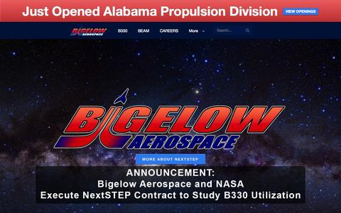 Screenshot of Home Page bigelowaerospace.com - Bigelow Aerospace | We're building the future today! - captured Nov. 10, 2015