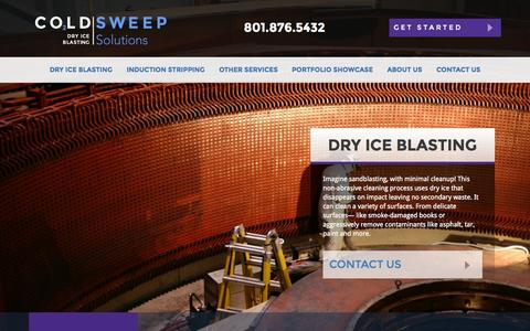 Screenshot of Home Page coldsweep.com - ColdSweep - Dry Ice Blasting, Induction Stripping, and More - captured Sept. 19, 2015