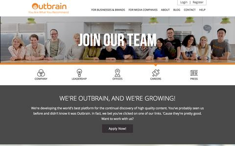 Screenshot of Jobs Page outbrain.com - Outbrain - Careers - captured Dec. 17, 2015