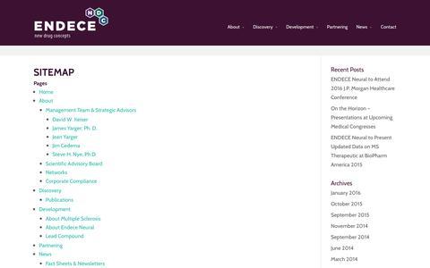Screenshot of Site Map Page endece.com - Sitemap | Endece - captured Jan. 23, 2016