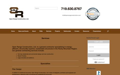 Screenshot of Services Page openrangeconstruction.com - Services – Open Range Construction Ltd. - captured Oct. 18, 2018