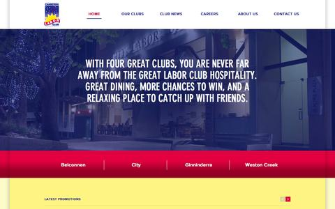 Screenshot of Home Page laborclub.com.au - Canberra Labor Club Group - Belconnen City Ginninderra and Weston Creek - captured Oct. 1, 2014