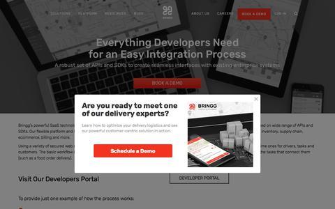 Screenshot of Developers Page bringg.com - Customer-Centric Logistics for Developers - captured Dec. 17, 2017