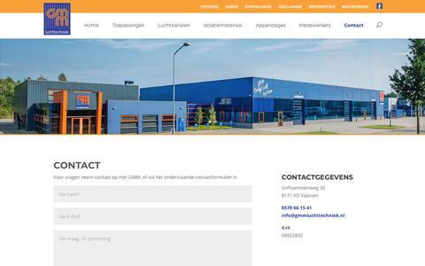 Screenshot of Contact Page gmmluchttechniek.nl - Contact · GMM Luchttechniek - captured July 15, 2018