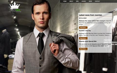 Screenshot of Home Page Press Page roomten.co.uk - Tailored Suits London & Surrey | Tailor Made Suits | Room Ten - captured Sept. 30, 2014