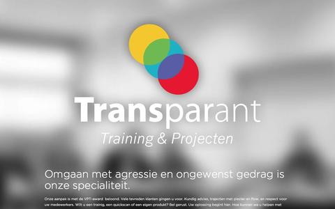 Screenshot of Home Page transparanttraining.nl - Trainingen omgaan met agressie | Transparant Training & Projecten - captured Jan. 14, 2016