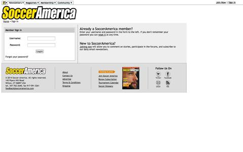 Screenshot of Login Page socceramerica.com - SoccerAmerica - Sign In - captured Sept. 24, 2014