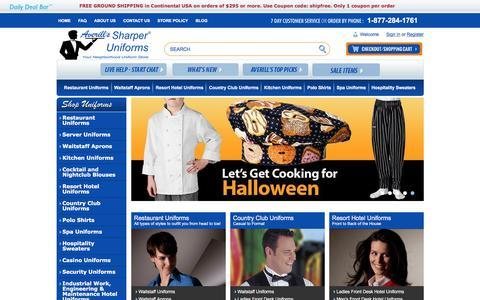 Screenshot of Home Page sharperuniforms.com - Restaurant Uniforms & Hospitality Uniforms | Averill's Sharper Uniforms - captured Oct. 9, 2017