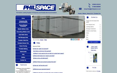 Screenshot of FAQ Page philspace.co.uk - FAQs | Philspace | Hampshire UK | Secure Storage Units | Self Storage Containers - captured Oct. 2, 2014
