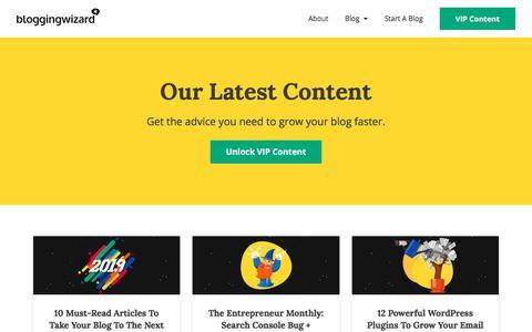 Screenshot of Blog bloggingwizard.com - Proven Blogging Advice For Smart Entrepreneurs - Blogging Wizard   Blogging Wizard - captured Jan. 20, 2020
