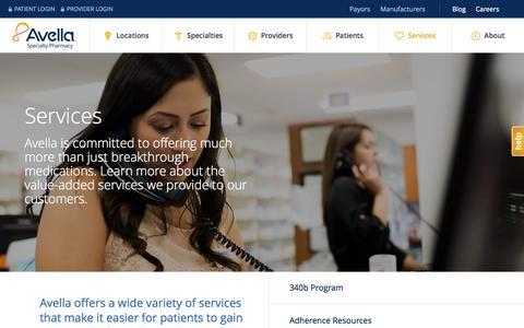 Screenshot of Services Page avella.com - Services - captured Nov. 11, 2015