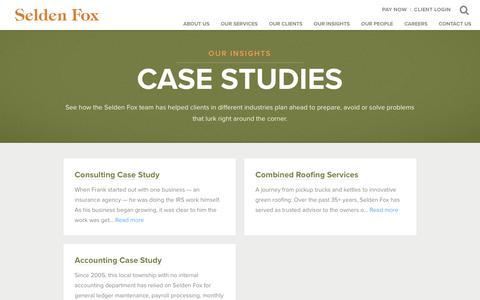 Screenshot of Case Studies Page seldenfox.com - Case Studies | Selden Fox - captured Oct. 18, 2018