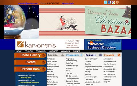 Screenshot of Home Page perham.com - Perham Chamber of Commerce - captured Oct. 2, 2014