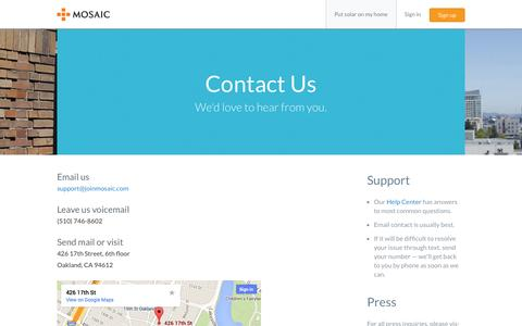 Screenshot of Contact Page joinmosaic.com - Contact Us | Mosaic - captured Sept. 16, 2014