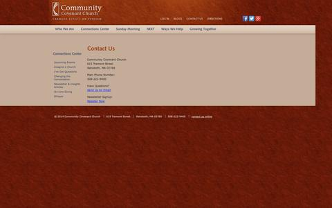 Screenshot of Contact Page communitycovenant.org - Contact Us - captured Oct. 8, 2014