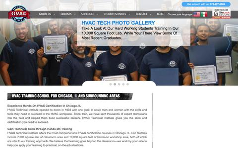 Screenshot of Home Page hvac-tech.com - HVAC Tech | Heating and Air Conditioning School, Chicago IL. - captured Oct. 16, 2016