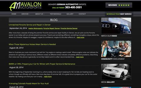 Screenshot of Blog avalonmotorsports.com - Blog - Avalon Motorsports - captured Sept. 30, 2014