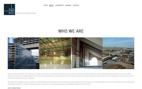 Screenshot of About Page age-se.com - ABOUT — AG&E Structural Engenuity - captured Oct. 2, 2018