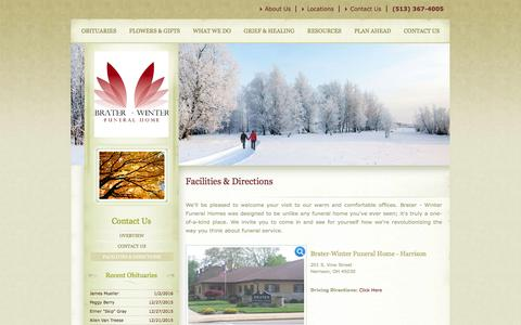 Screenshot of Locations Page braterfuneralhome.com - Facilities & Directions   Brater Funeral Homes - Harrison, OH - captured Jan. 7, 2016