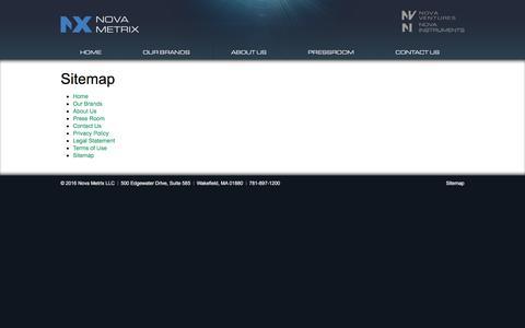 Screenshot of Site Map Page nova-metrix.com - Sitemap | Nova Metrix - captured March 6, 2016