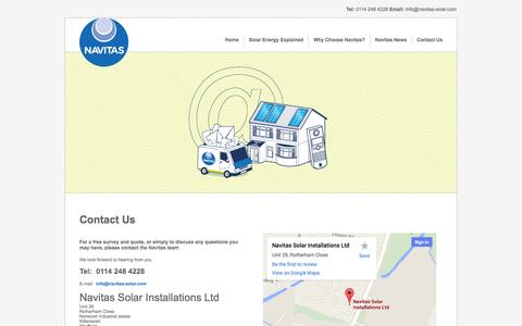 Screenshot of Contact Page navitas-solar.com - Contact Us - Navitas-Solar - captured Oct. 26, 2014