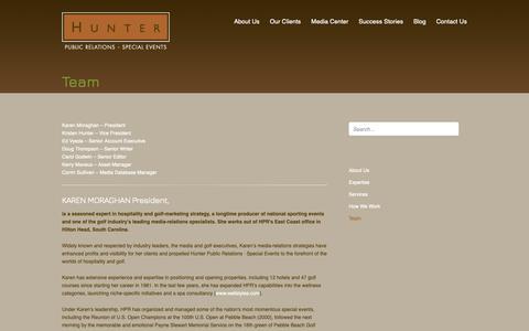 Screenshot of Team Page hunter-pr.com - Team | Hunter PR - captured Sept. 30, 2018