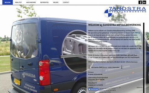 Screenshot of Home Page zandstrametaal.nl - Zandstra Metaalbewerking - captured Nov. 18, 2018