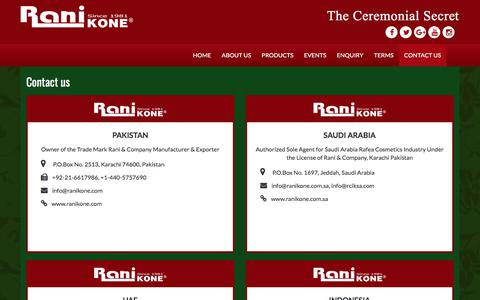 Screenshot of Contact Page ranikone.com - Contact us | – Rani Kone – The Ceremonial Secret - captured Nov. 12, 2017