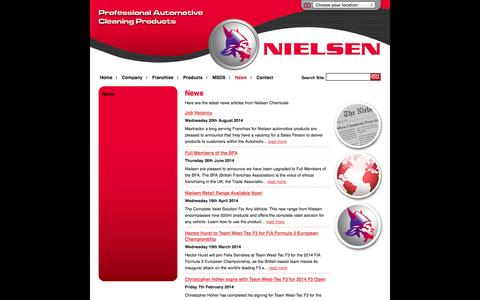 Screenshot of Press Page nielsenchemicals.com - Latest News | Nielsen Chemicals | Automotive Car Cleaning Products, Valeting Care Products & Janitorial, Workshop, Interior and Retail Range of Products - captured Oct. 1, 2014