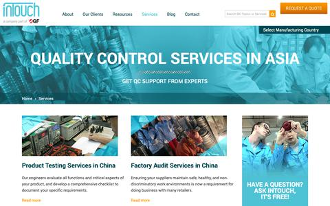 Screenshot of Services Page intouch-quality.com - Services | Asia Quality Focus - captured Jan. 4, 2019