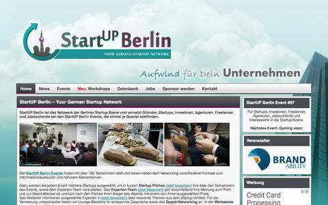 Screenshot of Home Page startup-berlin.com - StartUP Berlin - Die Eventreihe für die Startup-Szene - captured Sept. 25, 2014