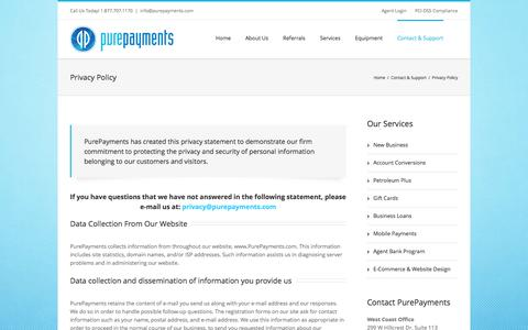 Screenshot of Privacy Page purepayments.com - PurePayments   –  Privacy Policy - captured Oct. 28, 2014