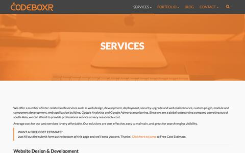 Screenshot of Services Page codeboxr.com - Services | Codeboxr - captured Jan. 17, 2016
