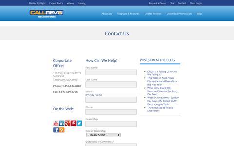 Screenshot of Contact Page callrevu.com - Contact CallRevu - Complete Phone Solutions for Auto Dealers - captured Oct. 1, 2014