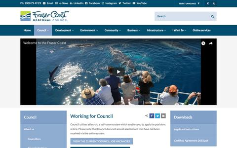 Screenshot of Jobs Page frasercoast.qld.gov.au - Working for Council - Fraser Coast Regional Council - captured Oct. 11, 2018