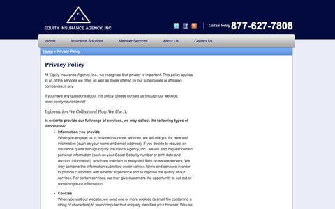 Screenshot of Privacy Page equityinsurance.net - Privacy Policy | Equity Insurance Agency, Inc. of Lombard Illinois - captured Oct. 8, 2014