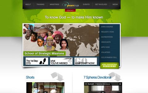 Screenshot of Home Page ywamtyler.org - YWAM Tyler ~ Global Influence Group - captured Oct. 6, 2014