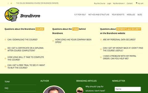 Screenshot of FAQ Page brandivore.com - Brandivore   FAQ   Brandivore © - captured Sept. 30, 2014