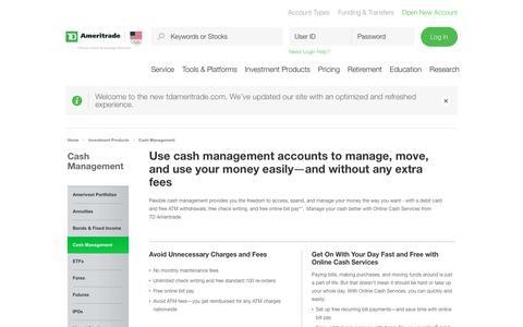Cash Management   TD Ameritrade